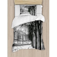 Black and White Duvet Cover Set, Seine River Paris City France Snowy Winter in the Urban City Trees, Decorative Bedding Set with Pillow Shams, Black White Grey, by Ambesonne