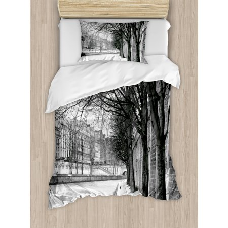 Black and White Duvet Cover Set, Seine River Paris City France Snowy Winter in the Urban City Trees, Decorative Bedding Set with Pillow Shams, Black White Grey, by Ambesonne ()