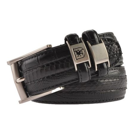 stacy adams men's 35mm genuine snakeskin with leather embossed crocodile and lizard belt, black, 38