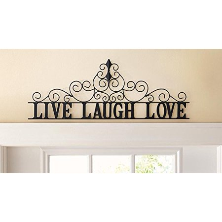 Scrolling live laugh love metal wall art for Live laugh love wall art