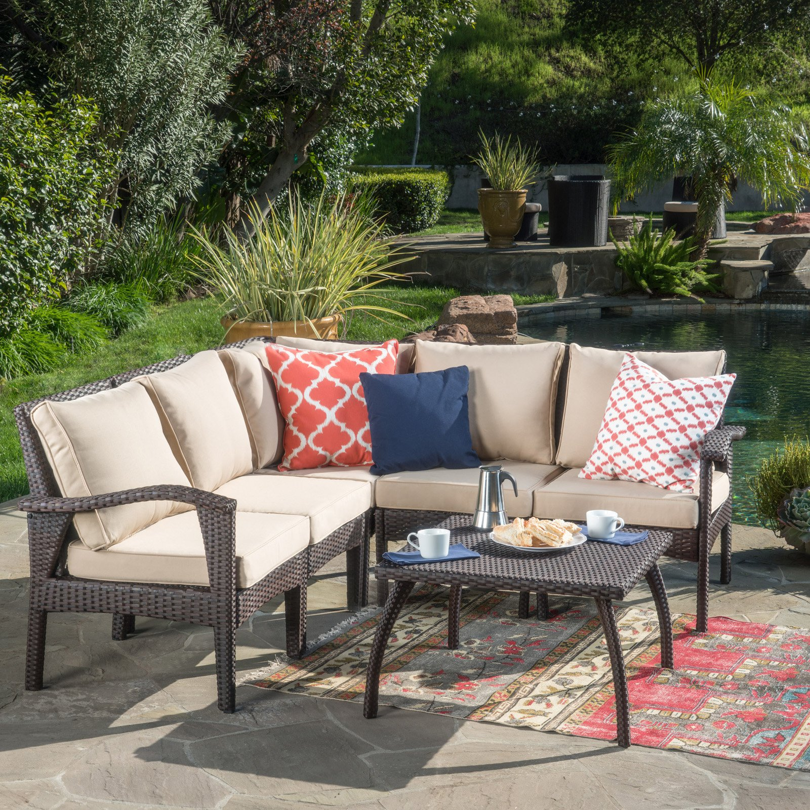 Piece V Shaped Patio Sectional Sofa Set