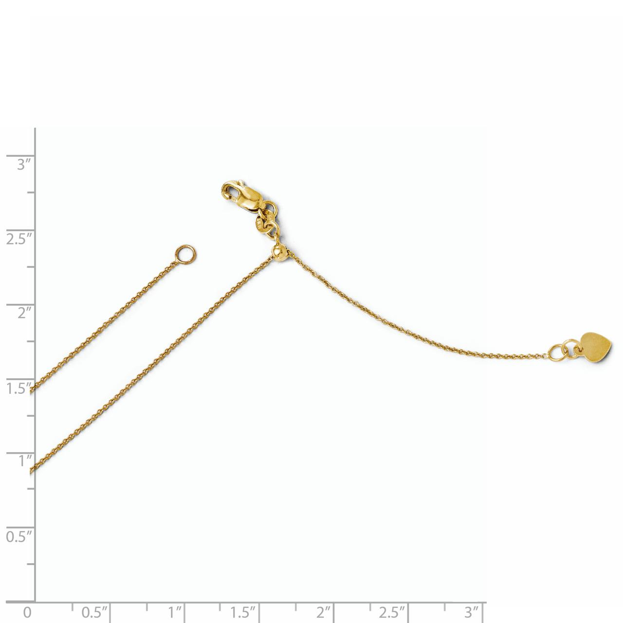 14k Yellow Gold .7 Mm Round Link Cable Adjustable Chain Necklace 22 Inch Pendant Charm Fine Jewelry Gifts For Women For Her - image 1 of 2