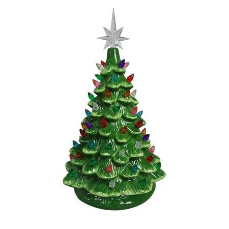 Tabletop Ceramic Lighted Green Christmas Tree Walmart Com
