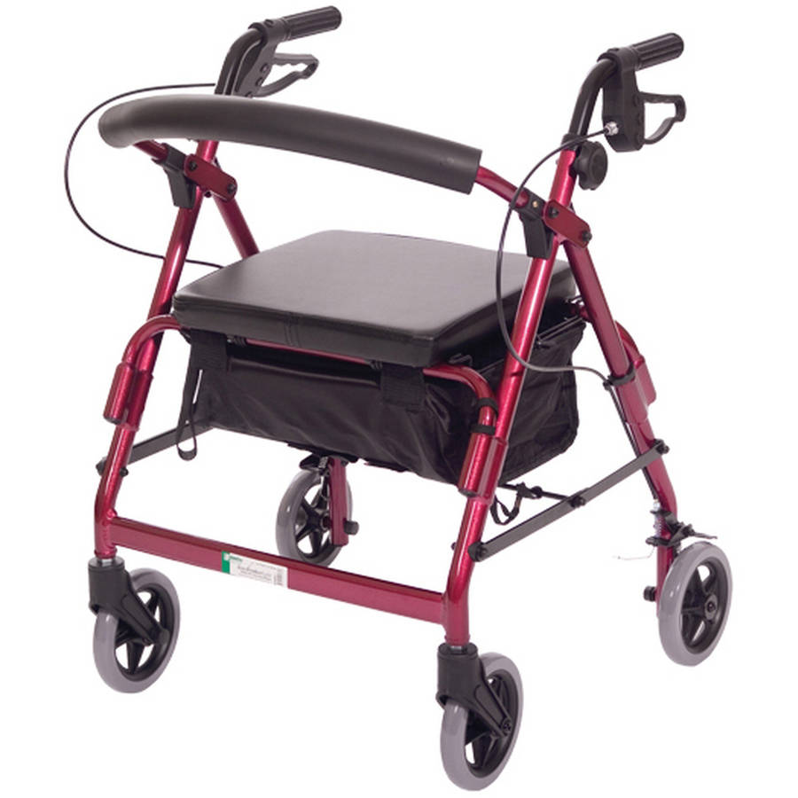 Essential Medical Supply Featherlight Demi Four Wheel Walker with Loop Hand Brakes in Red