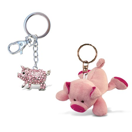 Puzzled Pig Plush Keychain and Sparkling Charm - Animals Theme - Set of 2 - U - Live Animal Keychain