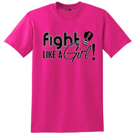 Fight Like a Girl Breast Cancer T-Shirt Unisex Hot Pink [S] - Girls Hot Clothes