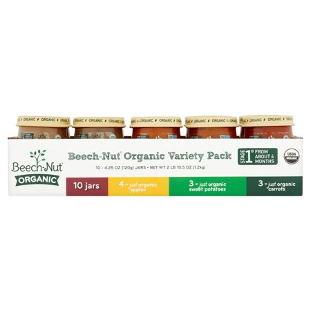 Beech Nut Organic Stage 1 Baby Food Variety Pack  4 25 Oz  10 Count