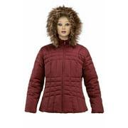 Calvin Klein Womans Burgundy Down Jacket with Faux Fur Hoodie BNWT Medium