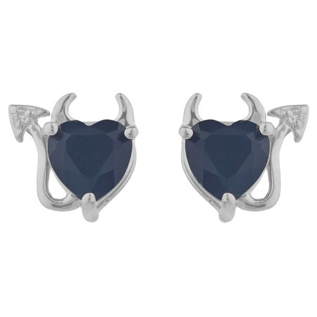 Genuine Black Onyx & Diamond Devil Heart Stud Earrings .925 Sterling (Black Onyx Heart Earrings)