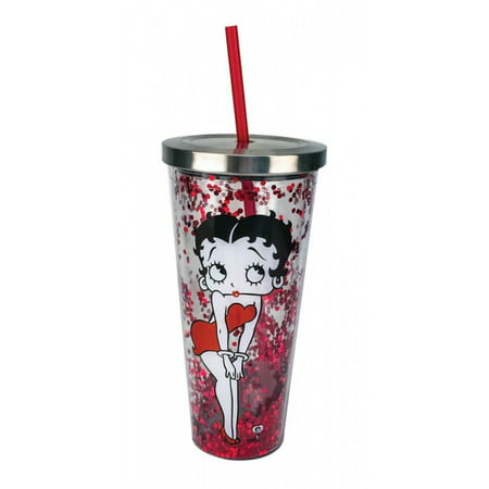 BETTY BOOP GLITTER CUP WITH STRAW](Monogrammed Cups With Straw)