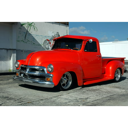 Peel-n-Stick Poster of Pickup Truck Red Transportation Customized Restored Poster 24x16 Adhesive Sticker Poster - Customized Stickers