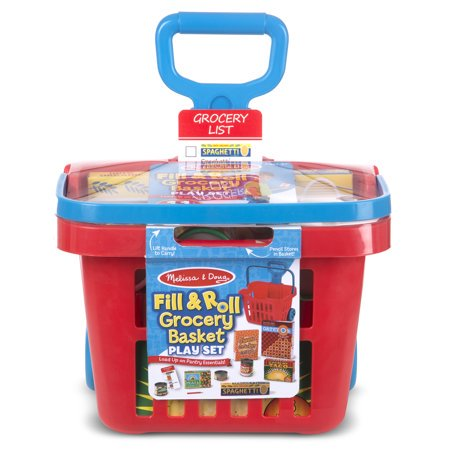 """Melissa&Doug Fill & Roll Grocery Basket Play Set (Play Food, Durable Construction, 11 Pieces, 22"""" H x 10.25"""" W x 11.75"""" L) (Doug Grocery Basket)"""