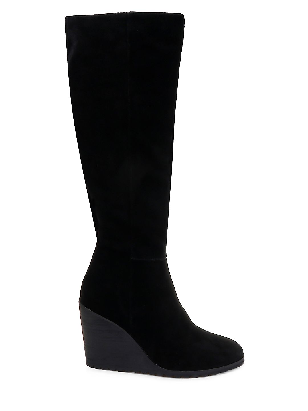 Suede Knee-High Wedge Boots
