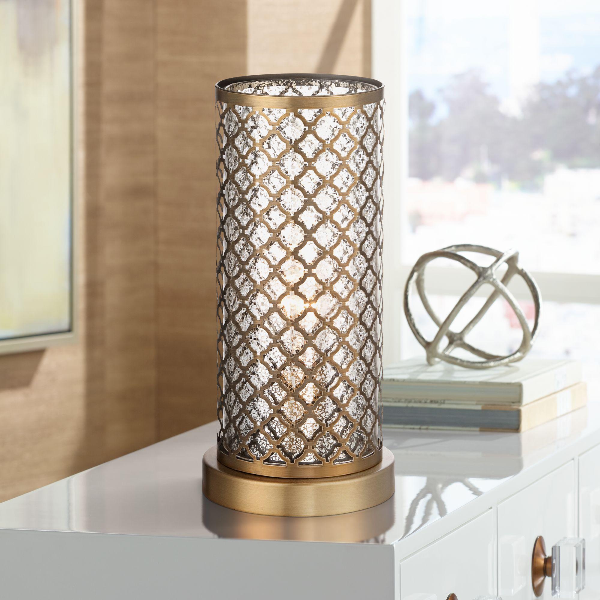 "360 Lighting Alcazar Brass And Mercury Glass 12"" High Accent Light"