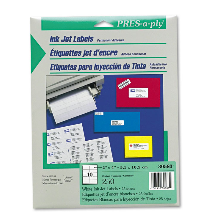 Avery Consumer Products Pres-A-Ply Inkjet Address Labels, 250/Pack