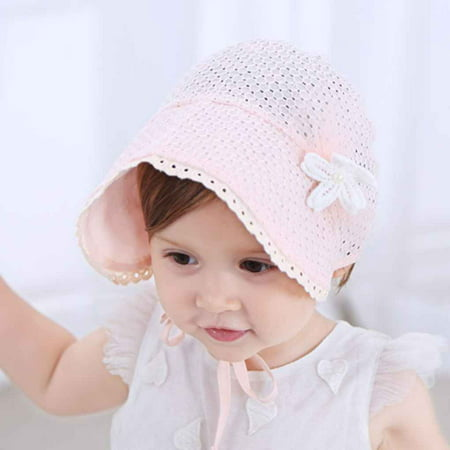 Newborn Infant Beach Bucket Hat Baby Girl Boy Sun Summer Pure Color Cap Lace Bonnet (Beautiful Baby Bonnet)
