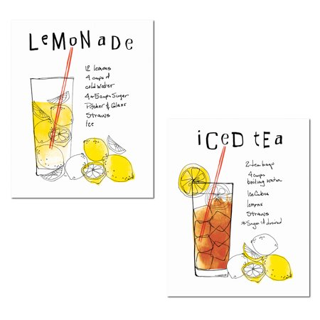 Afternoon Delight | Fun Summertime Lemonade and Iced Tea Recipes by Wild Apple Portfolio; Kitchen Decor; Two 11x14in Unframed Paper Posters](Lemonade Concentrate Recipe)