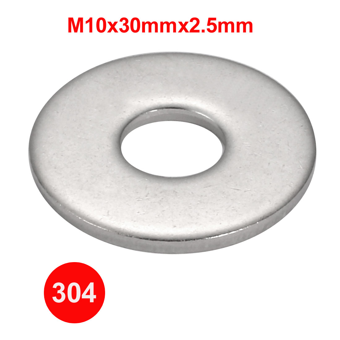 M10x30mmx2.5mm DIN9021 304 Stainless Steel Flat Washer Silver Tone 30pcs - image 1 of 3