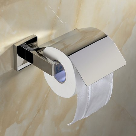 Roll Toilet Paper Holder - SUS 304 Stainless Steel Toilet Paper Roll Holder with Cover Wall Mount Polished