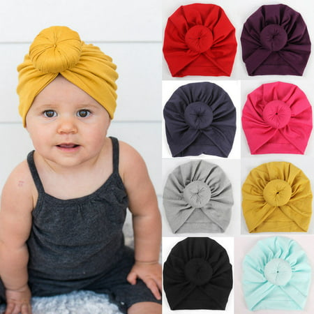 Baby Hat, Knit Solid Color Soft Bunny Ear Head Wrap Headband Infan Toddler Cap Beanie Scarf Turban for Newborn Girl - Yellow Derby Hat