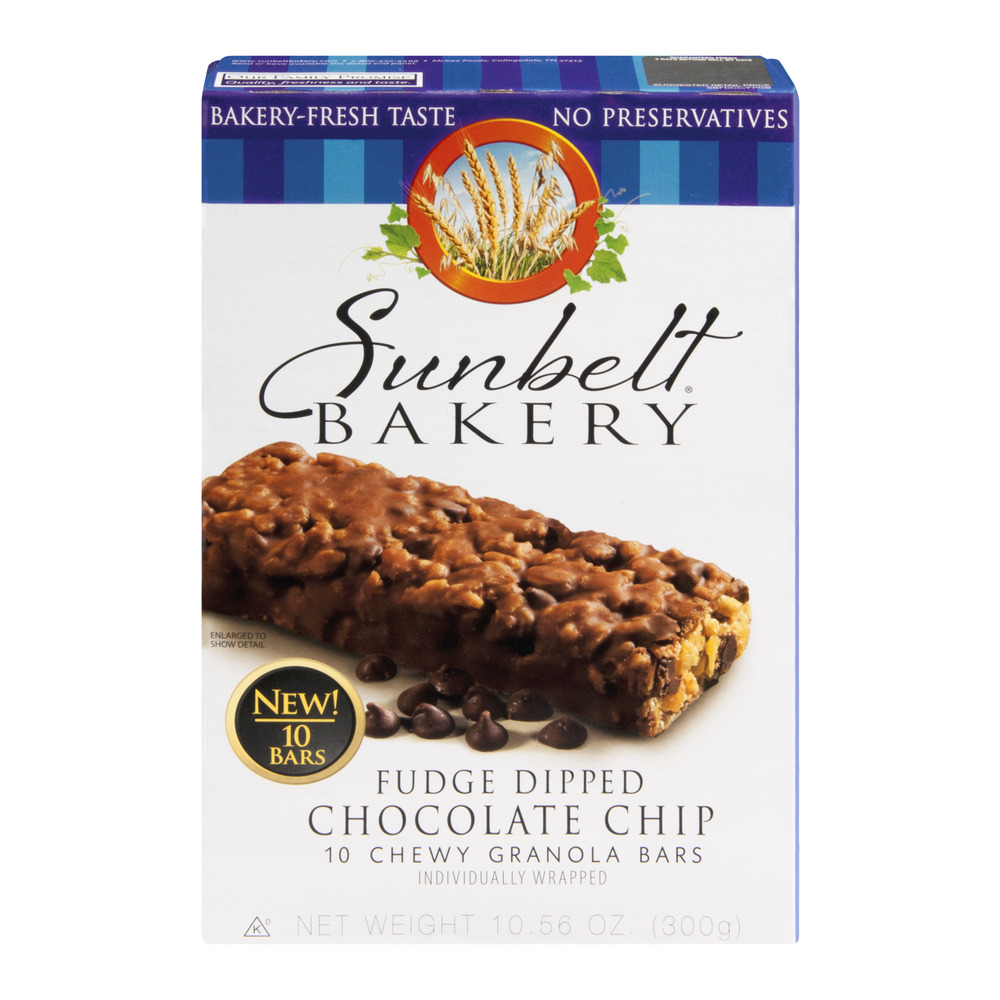 Sunbelt Bakery Granola Bars Fudge Dipped Chocolate Chip - 10 CT