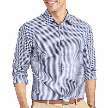 Van heusen new blue mens size small s button down plaid for Van heusen plaid shirts