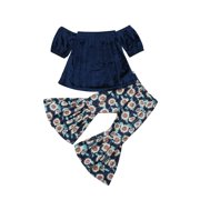 Girls Clothes Sets Toddler Baby Girls Off-Shoulder Blouse Top+Ruffle Sunflower Pants 2pcs Top and Pants Set