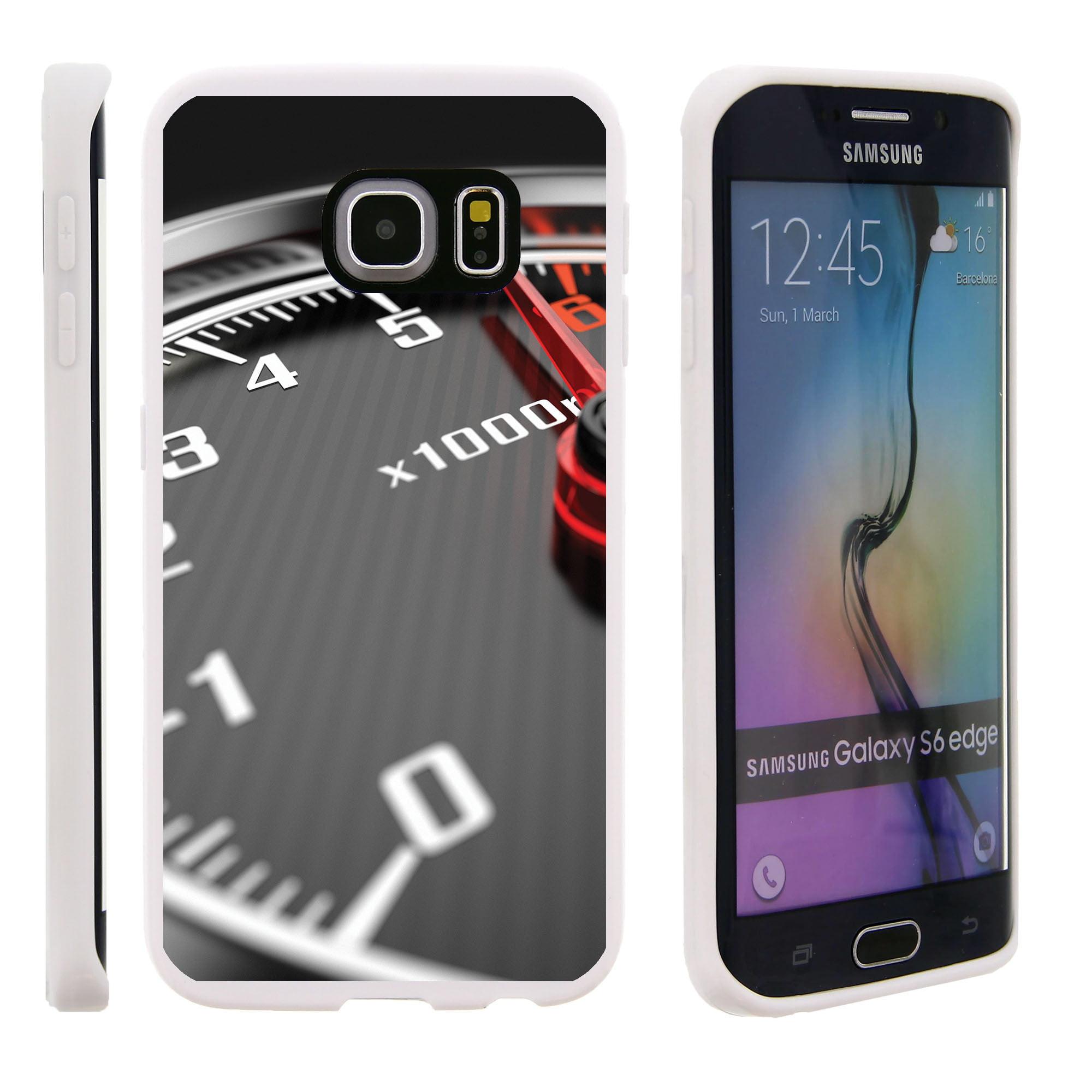 Samsung Galaxy S6 Edge G925, Flexible Case [FLEX FORCE] Slim Durable TPU Sleek Bumper with Unique Designs - Close up Speedometer