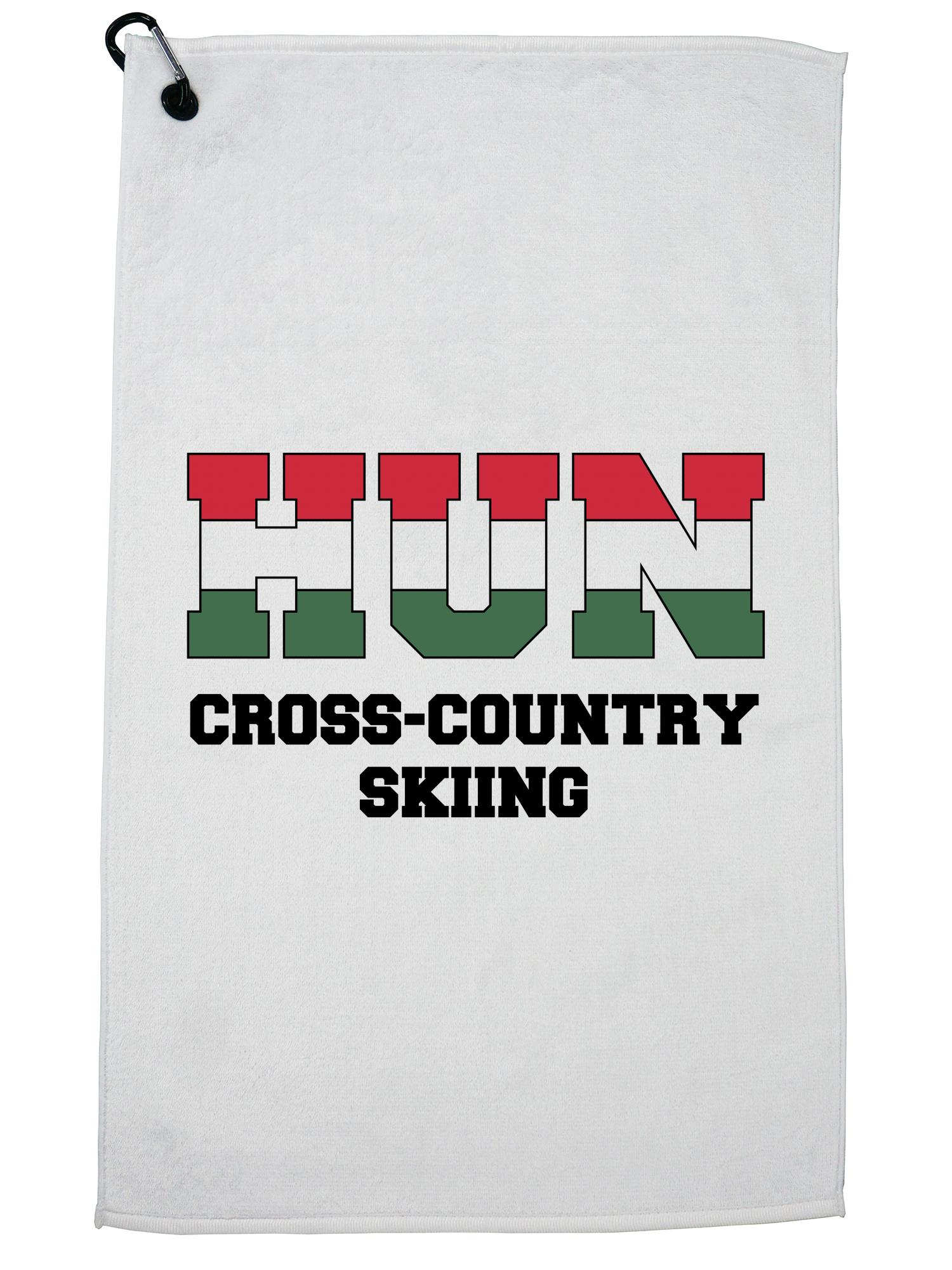 Hungarian Cross-Country Skiing Winter Olympic HUN Flag Golf Towel with Carabiner Clip by Hollywood Thread