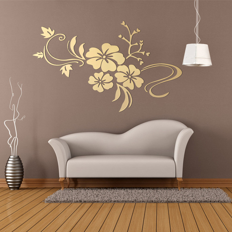 DIY Retro 3D Mirror Wall Sticker Removable Flower Art Acrylic Decal Living Room Home Decor