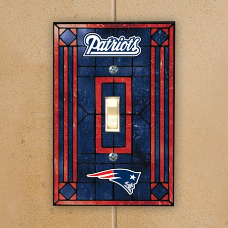 Art Glass Switch Cover (New England Patriots Navy Blue Art-Glass Switch Plate Cover - No)