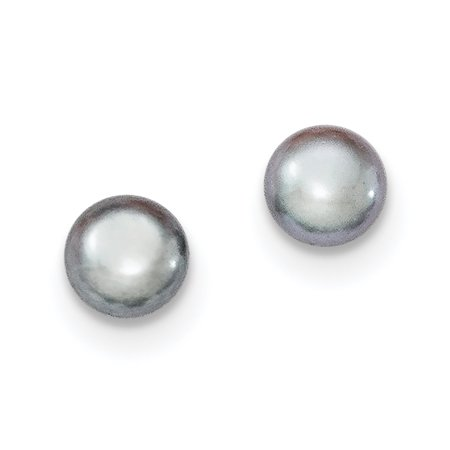 - Lex & Lu Sterling Silver 6-7mm Grey FW Cultured Button Pearl Stud Earrings