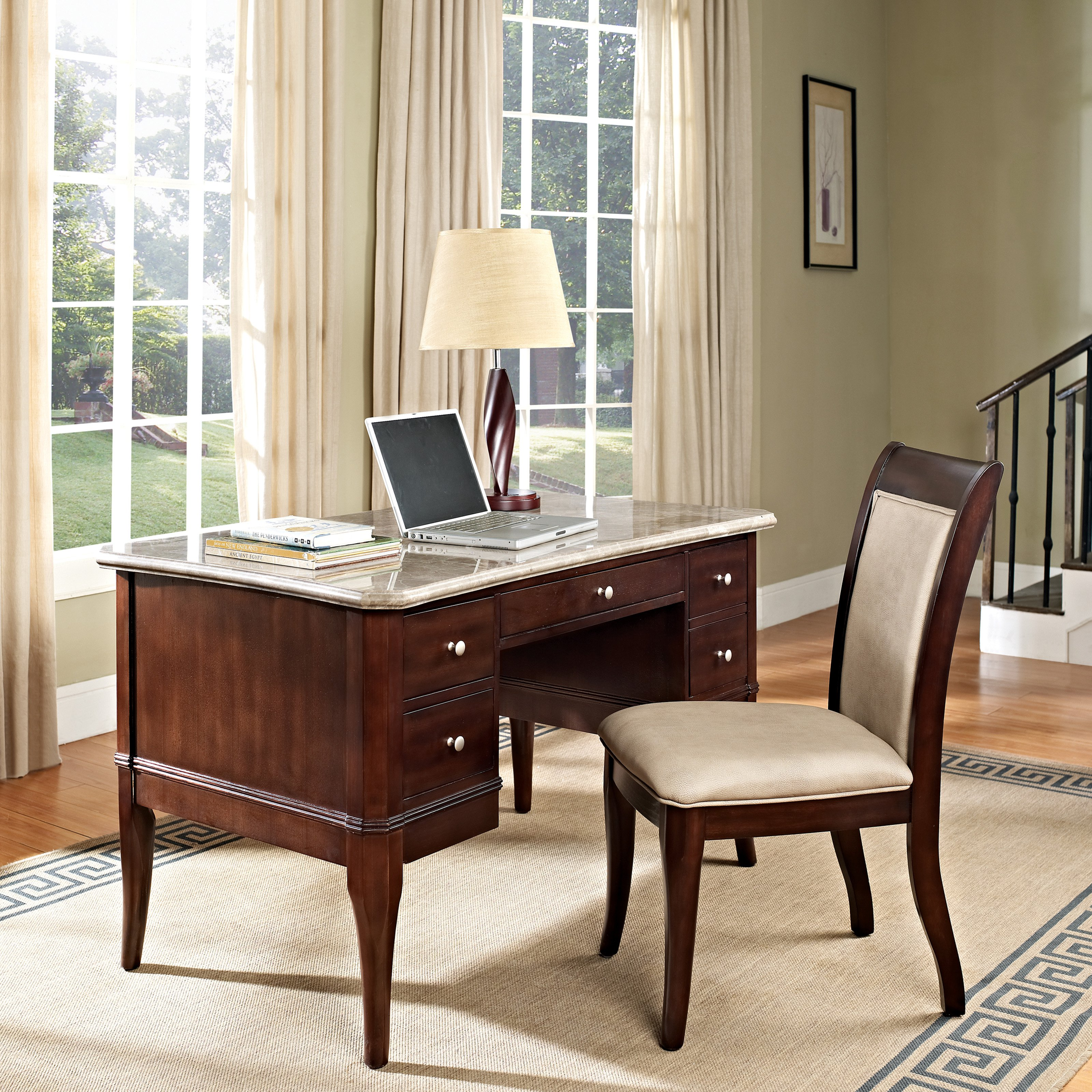 Steve Silver Marseille Marble Top Writing Desk with Optional Chair - Desk Only