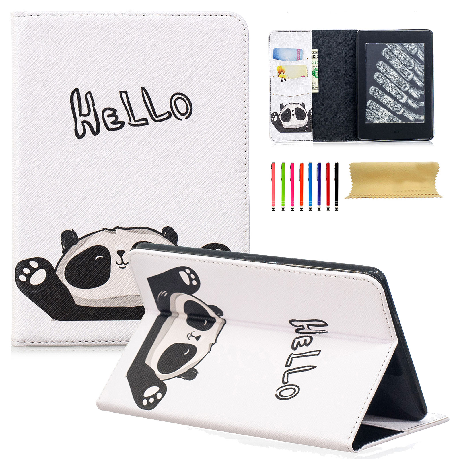 Goodest SlimShell Case for Kindle Paperwhite 3/2/1, The PU Leather Cover Auto Sleep/Wake for All-New Amazon Kindle Paperwhite (Fits All 2012, 2013, 2014, 2015 and 2016 Versions), Hello Panda