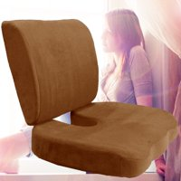 Memory Foam Back Lumbar & Coccyx Support Pillows Two Piece Set Sciatica & Pain Relief Seat Chair or Car Cushion Brown