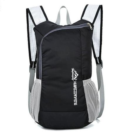 Outdoor Foldable Backpack Lightweight Travel Waterproof Shoulder Bag For Men And Women Black