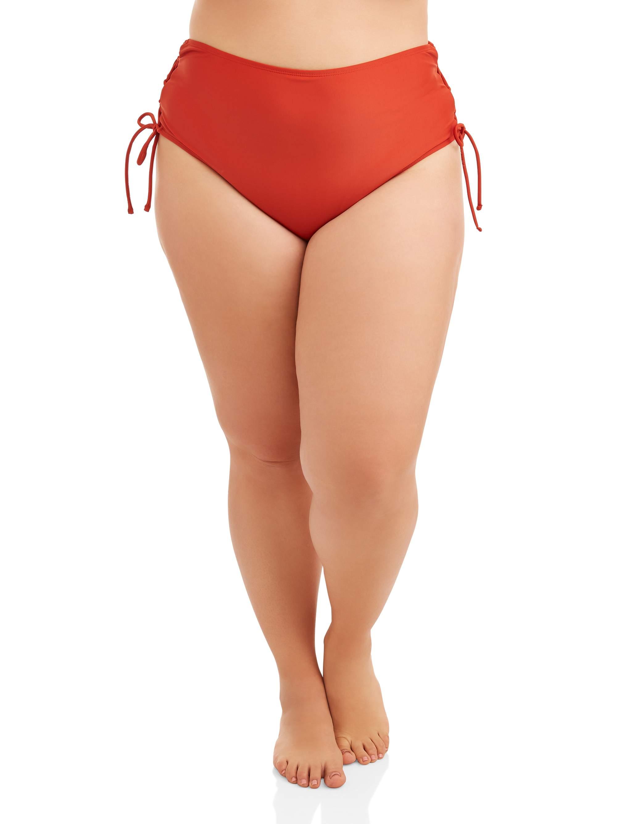 Women's Plus Size Lace Up High Waist Swimsuit Bottom