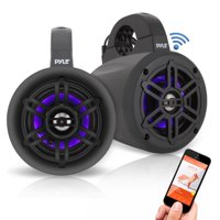 Pyle PLMRLEWB47BB - Waterproof Rated Bluetooth Marine Tower Speakers - Wakeboard Subwoofer Speaker System with Wireless Music Streaming & LED Lights (4?' -inch, 300 Watt)