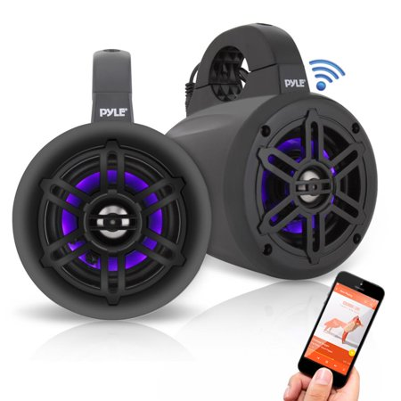 Pyle PLMRLEWB47BB - Waterproof Rated Bluetooth Marine Tower Speakers - Wakeboard Subwoofer Speaker System with Wireless Music Streaming & LED Lights (4'' -inch, 300 (Best Rated Tower Speakers)