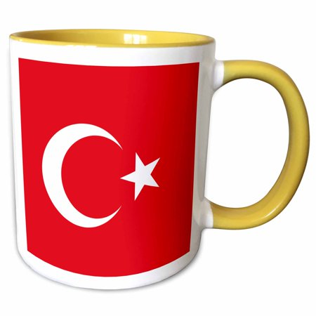 3drose Flag Turkey Turkish Red And White Crescent Moon And Star Mediterranean Anatolia Asia Minor Country Two Tone Yellow Mug 11 Ounce