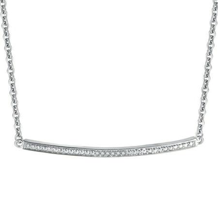 Single Diamond Necklace - Diamond Accent Silver Tone Single Bar Necklace. 18