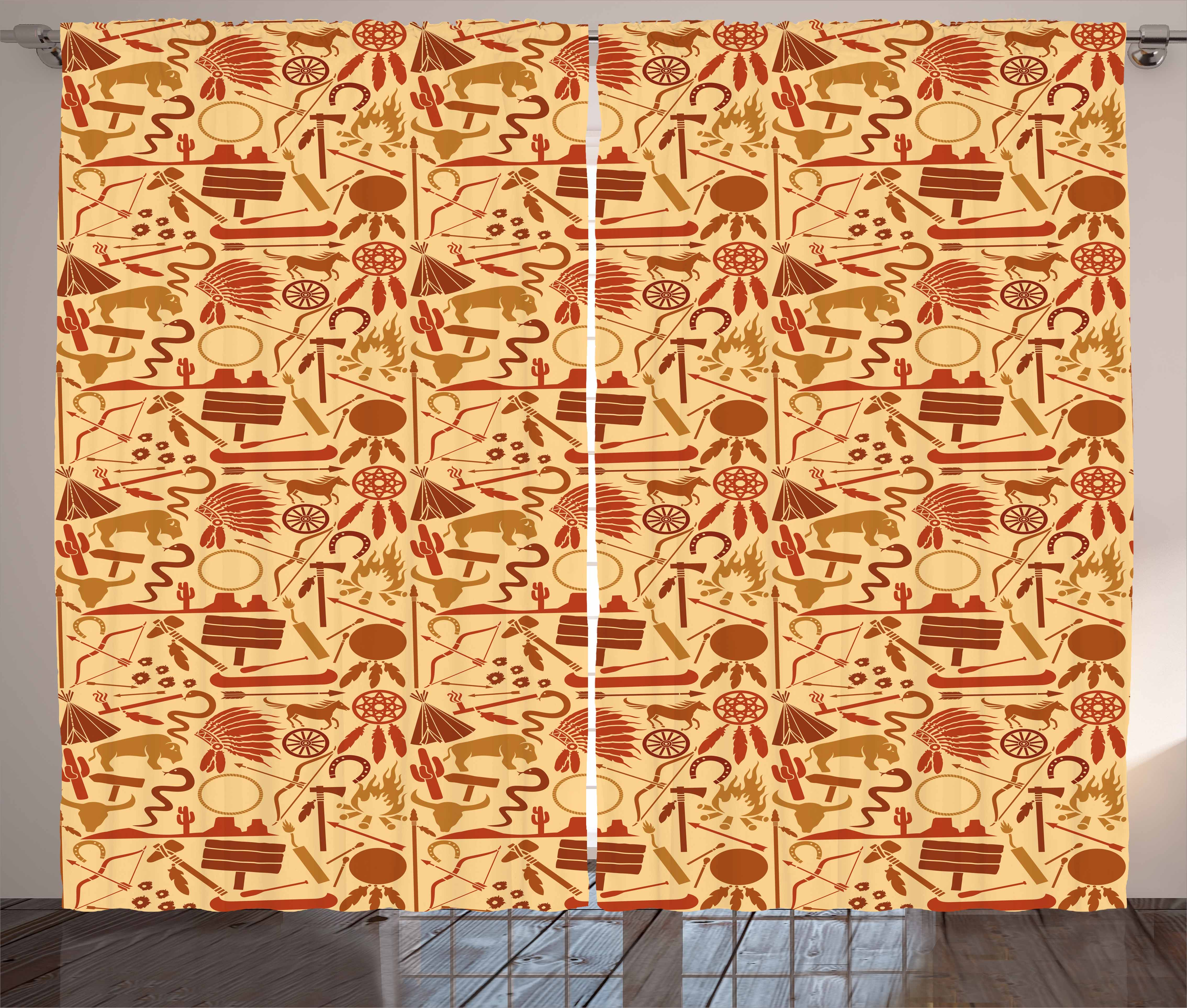 Click here to buy Western Curtains 2 Panels Set, Native American Culture Arrow Hatchet Chiefs Hat Snakes Bison Spears, Window... by Kozmos.
