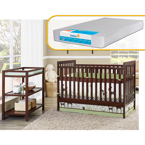 Baby Relax Ryder 2-in-1 Fixed-Side Crib with Changing Table and Mattress Bundle, Espresso