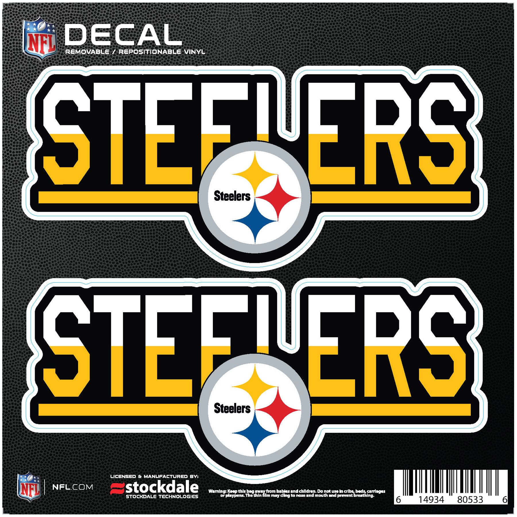 """Pittsburgh Steelers 6"""" x 6"""" Two-Tone Repositionable Decal 2-Pack Set - No Size"""