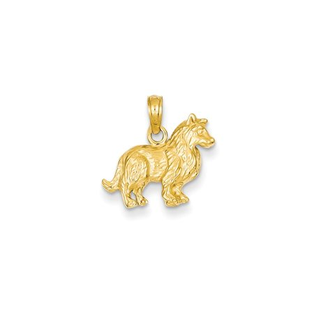 Yellow Gold Collie (14k Yellow Gold Collie Dog Pendant - 1.4 Grams - Measures)