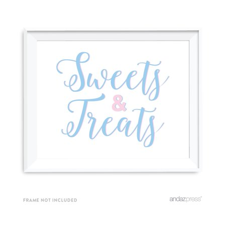Signature Pink and Blue Gender Reveal Baby Shower, 8.5x11-inch Party Sign, Sweets & Treats (Shower Sign)