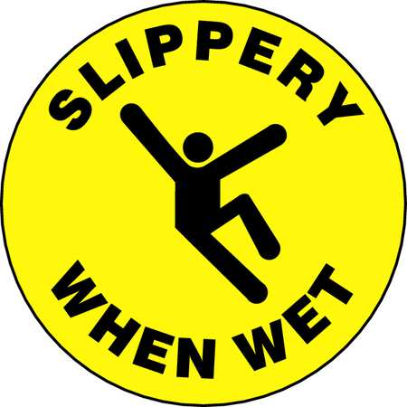Accuform Floor Sign,8In,Slippery When Wet,PK2, MFS217