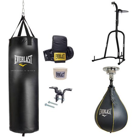 Everlast Dual Station Heavy Bag Stand with Your Choice of 70-lb. Kit and Speedbag or Striking Bag Value Bundle Heavy Bag Racks
