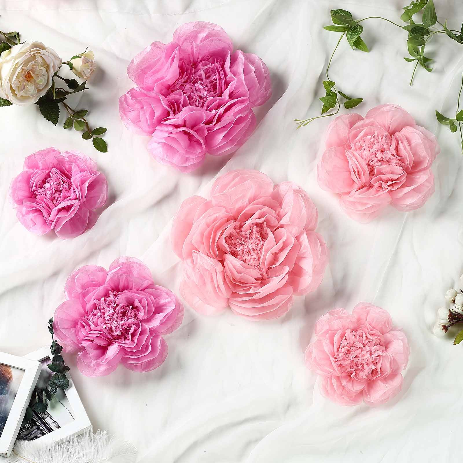 Efavormart 6 Pack Assorted Size Giant Paper Peony Flowers Decor