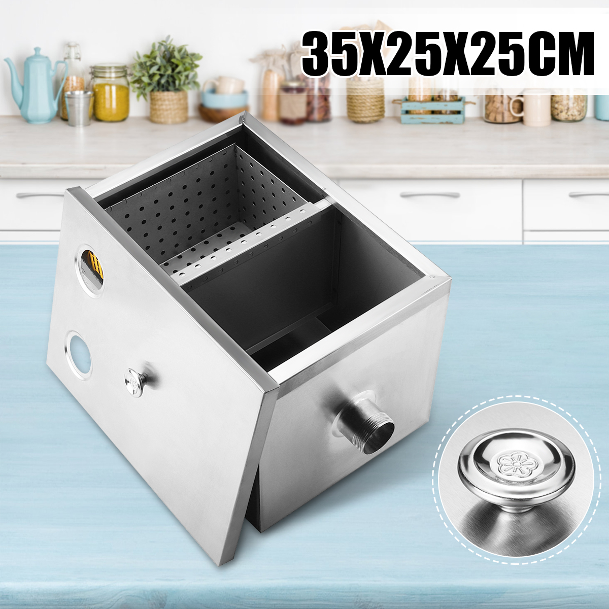 """14"""" Commercial Grease Trap 5GPM Gallon Per Minute Stainless Steel Interceptor Filter Kit for Restaurant Kitchen Wastewater Home Hotel"""